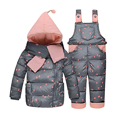 05caa0189193 Amazon.com  ZPW Baby Toddler Winter Snowsuit Polka Dot Scarf Hoodie ...