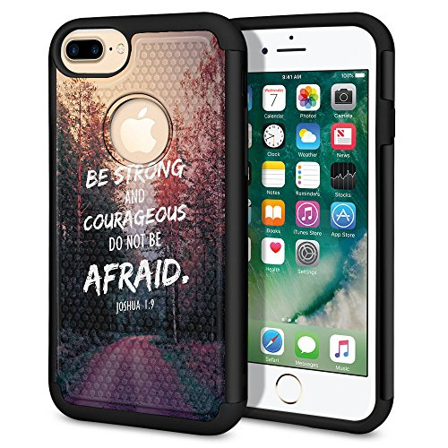 WIRESTER Case Compatible with Apple iPhone 7 PLUS 2016/8 PLUS 2017 5.5 inch, Dual Layer Football Skin Hybrid Protector Case Cover TPU For iPhone 7 PLUS/8 PLUS - Joshua 1:9 (9 Ball Case)