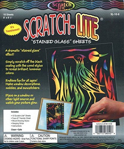 Melissa & Doug Scratch Art Stained Glass – 10 Translucent Color-Reveal Sheets