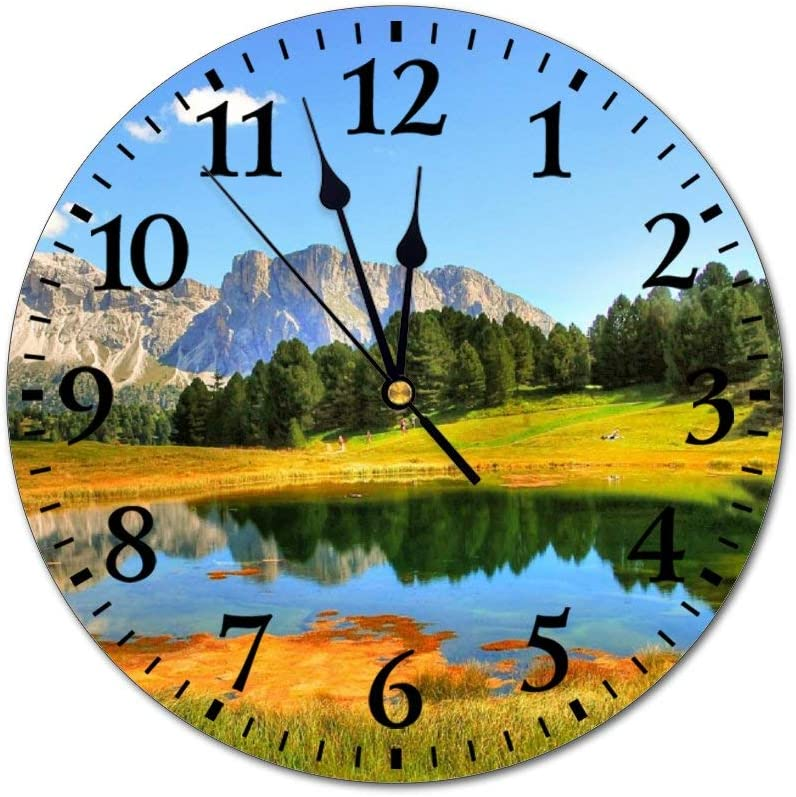 Horloge murale en PVC Dolomites Val Gardena Nature Paysage Randonn/ée Silencieux Non-Ticking Horloge murale personnalis/ée 25 x 25 cm