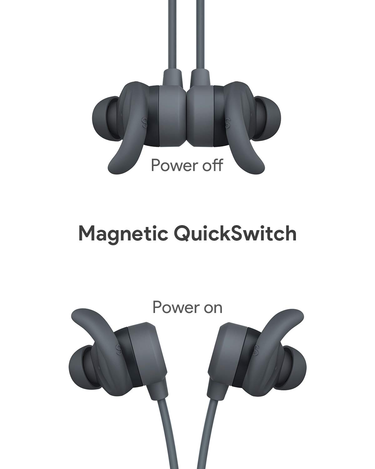 Wireless Earbuds, AUKEY Key Series B60 Magnetic Switch Sports Headphones  with Bluetooth 5, Deep Bass, IPX6 Water-Resistance, 8H Playtime and in-line