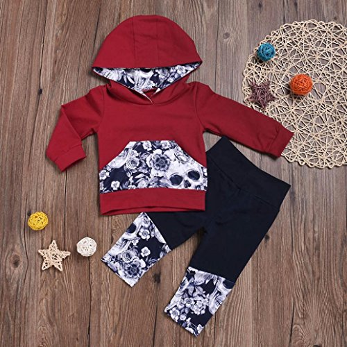 Nevera 2Pcs Toddler Girls Boys Flower Skull Bone Hooded Tops+Pants Outfits Set (Wine, 6M) by Nevera (Image #1)