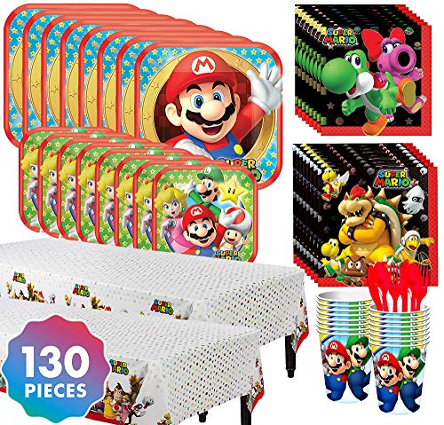 Party City Super Mario Tableware Kit for 16 Guests, 130 Pieces, Includes Plates, Napkins, Table Cover, Cutlery, and -
