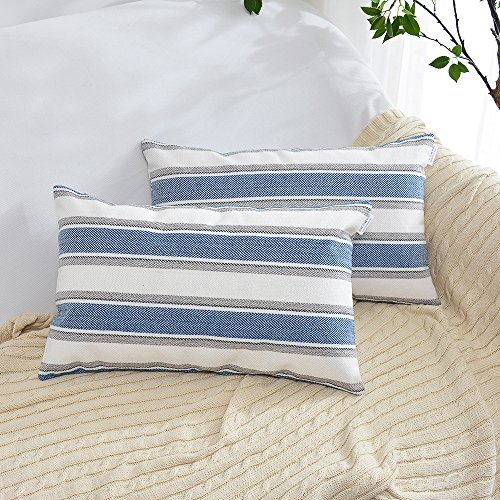 White Stripe Throw Pillow - NATUS WEAVER Navy Pure White Stripe Decorative Linen Oblong Throw Pillow Cases Cushion Covers Soft Linen Textured for Bedroom, 12