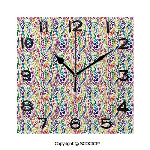 SCOCICI Print Square Wall Clock, 8 Inch Mixed Mosaic Figures Vivid Nature Inspired Kids Girls Hippie Contrast Design Decorative Quiet Desk Clock for -