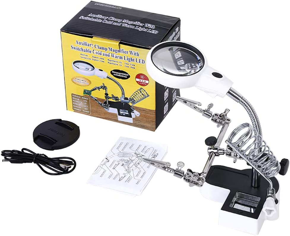 LXIANGN Helping Hand with Magnifying Glass and Light 4.5X 11x Adjustable Desktop Magnifyier Glass with Led for Soldering,Micro Objects