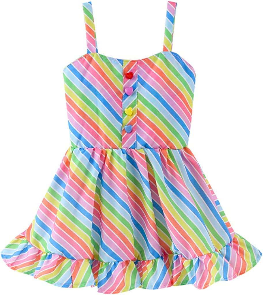 Lisin Summer Toddler Baby Kid Girls Stripe Condole Belt Skirt Princess Dresses Casual Clothes