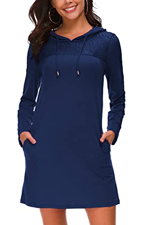 KorMei Damen Langarm Hoodie Bodycon Stretch Sweatshirt Mini Kleider mit 2  Taschen Spitze  Amazon.de  Bekleidung 6baa6310d7
