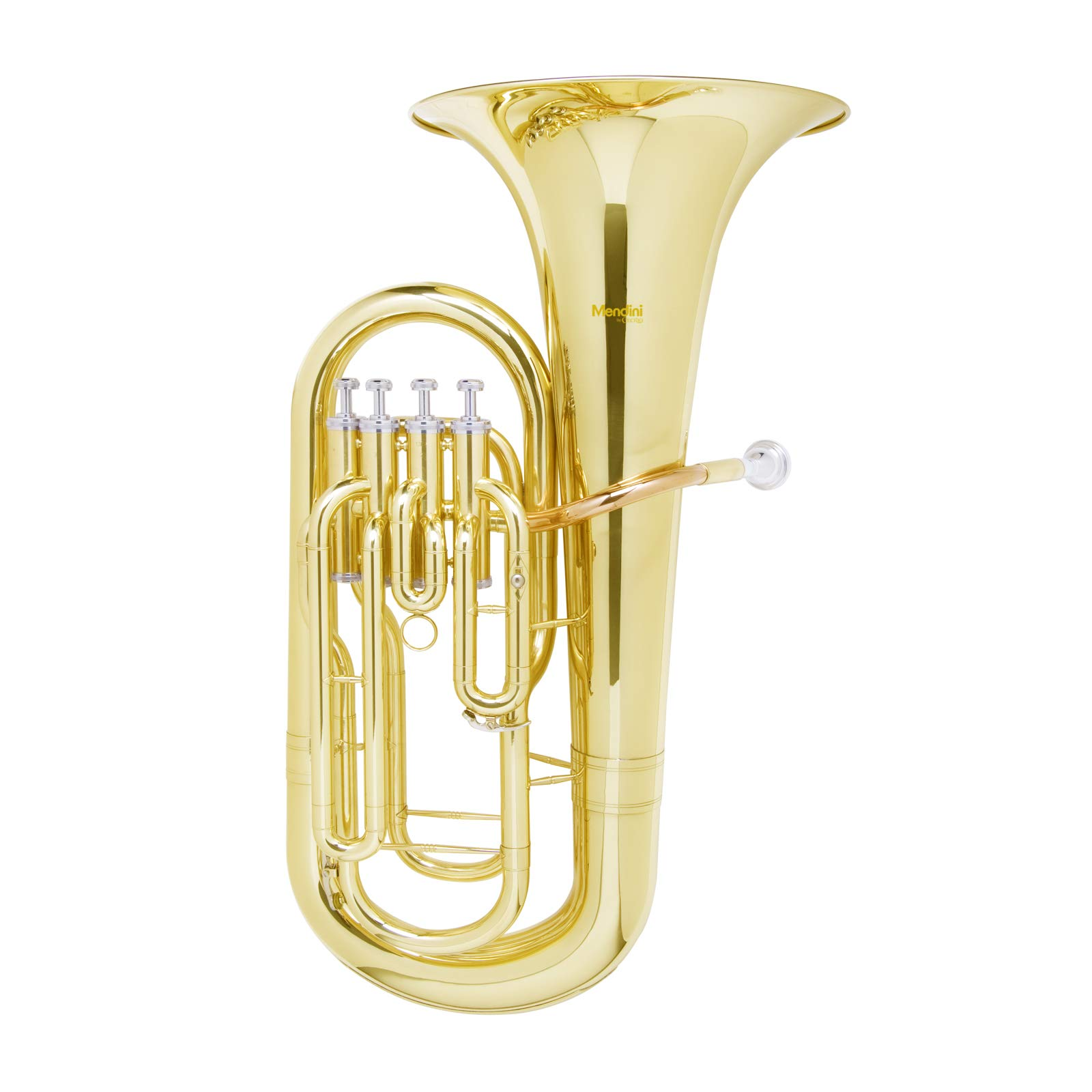 Mendini MEP-L Lacquer Brass B Flat Euphonium with Stainless Steel Pistons, Gold by Mendini by Cecilio