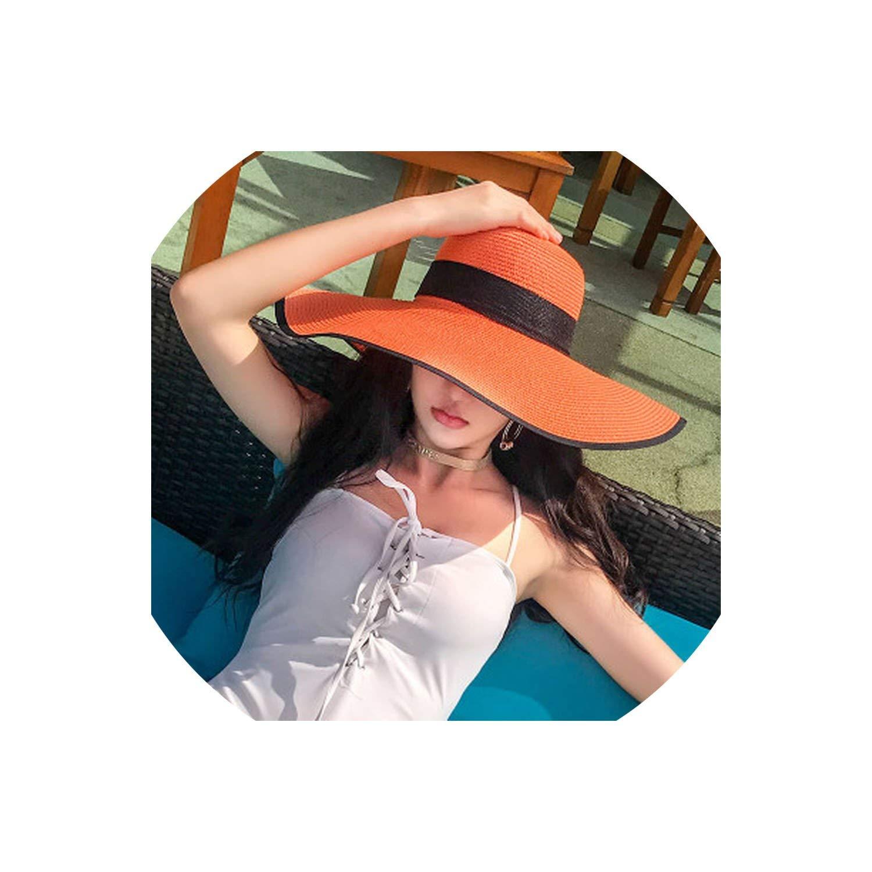 Sun Hat Women Beach Sun Hats Floppy Sunhat,Black and Orange,55-60Cm Can Adjust