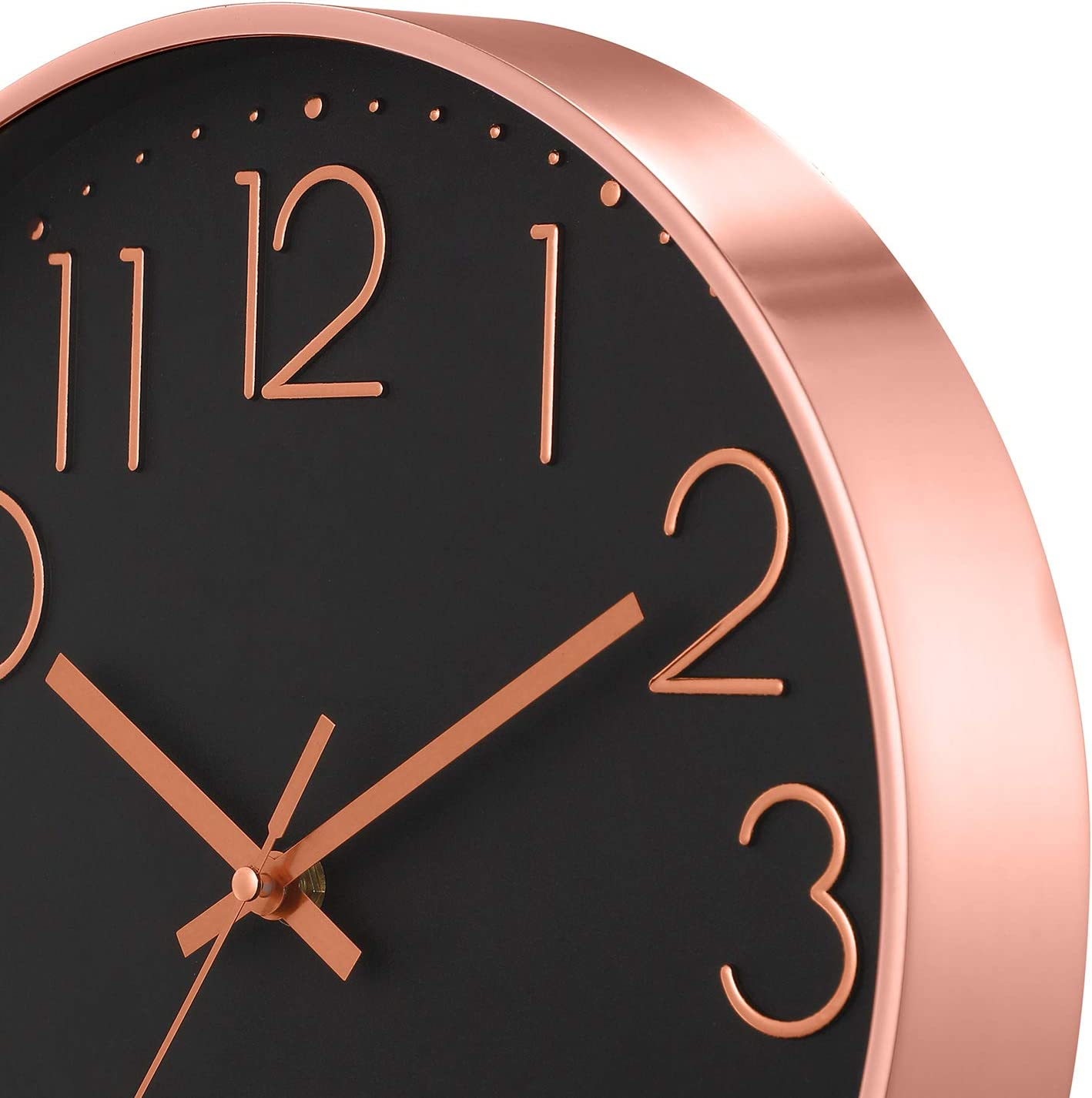 30cm Rose Gold and Black Finish Modern Designer Wall Clock