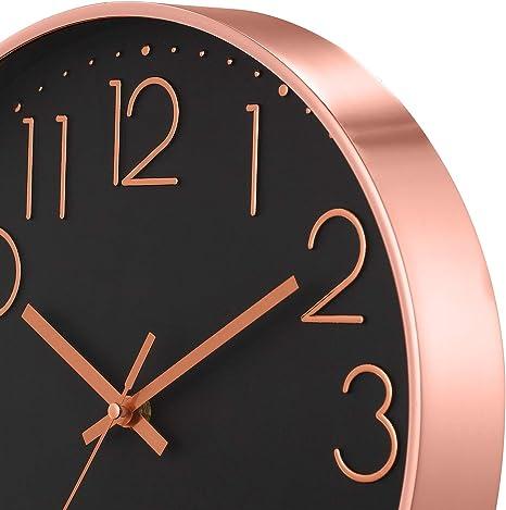 ufengke Orologio da Parete Numeri 3D Silenzioso Rosa Nero Orologio da Muro al Quarzo Semplice Cameretta Soggiorno, Diametro 30 cm