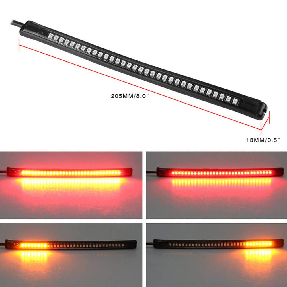 Support universel de 32  LED pour moto High Level Frein Queue lampe Tour Signal Bande flexible Lumiè re Feux Stop clignotants lumiè re de plaque d'immatriculation é tanche Barre de Strip Light EBILUN
