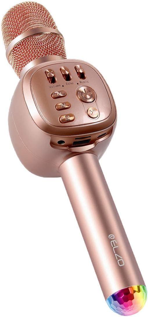 ELZO Micrófono Karaoke Bluetooth con 2 Altavoces Incorporados, Microfono Inalámbrico Karaoke Portátil para Cantar, Función de Eco, Compatible con Android/iOS, PC o Teléfono Inteligente (Oro Rosa)