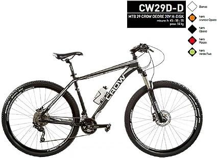 Bicicleta MTB 29 Crow Grupo Deore Discos hidráulico (nero-opaco) Modelo cw29d-d Made in Italy, NERO - OPACO, 55 cm: Amazon.es: Deportes y aire libre