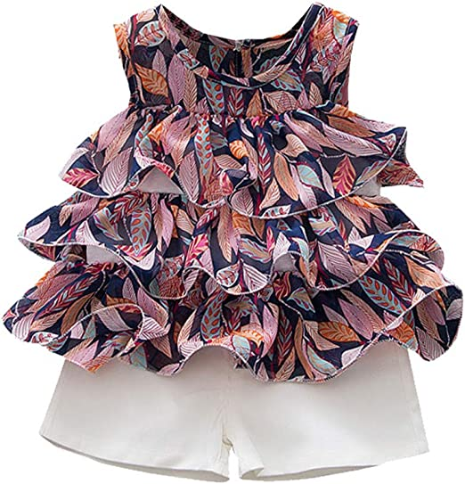 Youmymine Toddler Baby Kids Girls Sleeveless Ruffles Tops Floral Skirt Princess Outfits Clothes