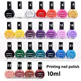 Coosa 6PCS Professional Stamping Nail Art Polish 10ml Nail Polish Varnish for Manicure Printing (25 Colors for Choose)