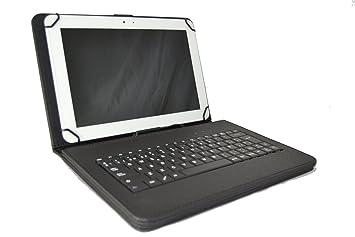 Theoutlettablet® Funda Negra con Teclado en español (Incluye Letra Ñ) para Tablet Wolder