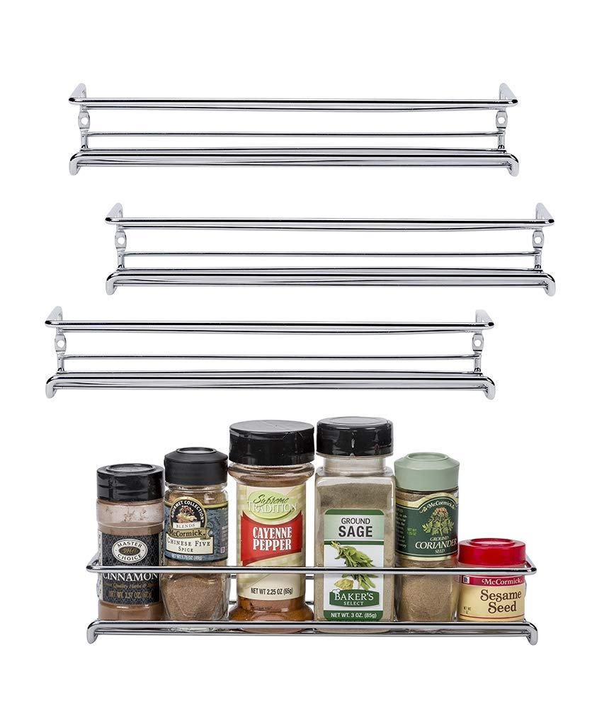 Set of 4 Chrome Wall-Mount Spice Racks – Single Tier Hanging Organizers for Pantry - Over Stove, Kitchen Cupboard and Closet Door Storage – by Unum – 11 3/8''L x 3''D x 2''H