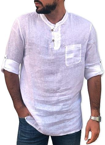 CAMICIE & Dalrededores, camisa de lino puro, fabricada en Italia, talla S, M, L, XL, XXL – Dos botones sin cuello – Hombre – Manga larga: Amazon.es: Ropa y accesorios