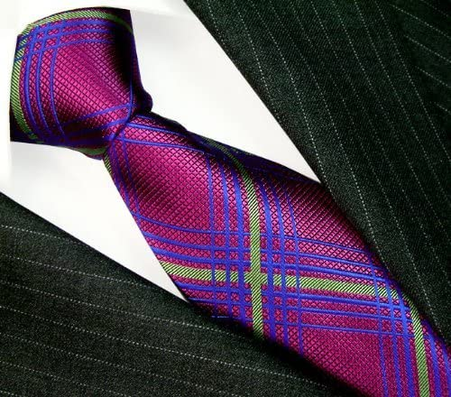 Luxury Italian 100/% Silk Neck Tie Purple Blue Plaid Necktie LORENZO CANA 36046