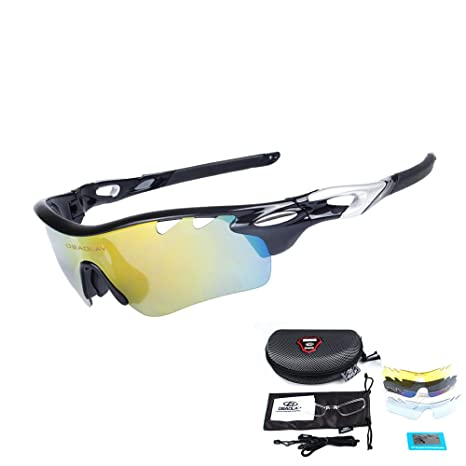 981e25d424 OBAOLAY Men Polarized Sports Sunglasses with 5 Interchangeable Lenses Women Cycling  Glasses for Fishing Hiking Golf