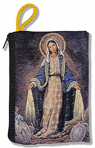 Good Shepherd Creations Large Tapestry Rosary Pouch with Traditional Catholic Art (Miraculous Medal)