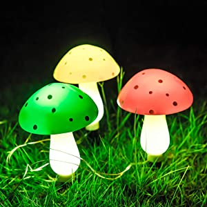 Outdoor Solar Garden Lights, Yard Decorations Mushroom -1Pack 3 Mushroom