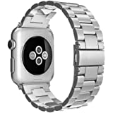 Simpeak Correa Apple Watch Series 3 / Series 2 / Series 1 Correa 42mm Correa de Acero Inoxidable Reemplazo de Banda de la Muñeca con Metal Corchete para Apple Watch Todos los Modelos 42mm,Plata