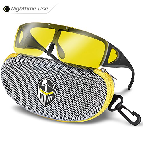 BLUPOND Wrap Around Oversized Sunglasses Fit Over Glasses For Women and Men With Flip Up Polarized Anti Glare (Wrap Goggles)