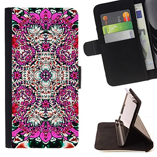 Abstract Pink Floral Tile Art - Colorful Pattern Flip Wallet Leather Holster Holster Protective Skin Case Cover For Samsung Galaxy Note 5 5th N9200