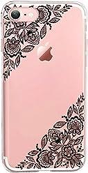 Girlscases® | iPhone 8/7 Hülle | Im Mandala Motiv Muster | mit schwarzen Blumen | Fashion Case transparente Schutzhülle aus Silikon