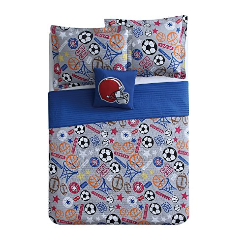 4 Piece Outdoor Express Sports Pattern Quilt Set Full Size, Printed Bright Basketball Football Rugby Soccer Stars Bedding, Comfortable Playful Kids Bedroom, Premium Stylish Artwork Design, Grey, Blue by SE