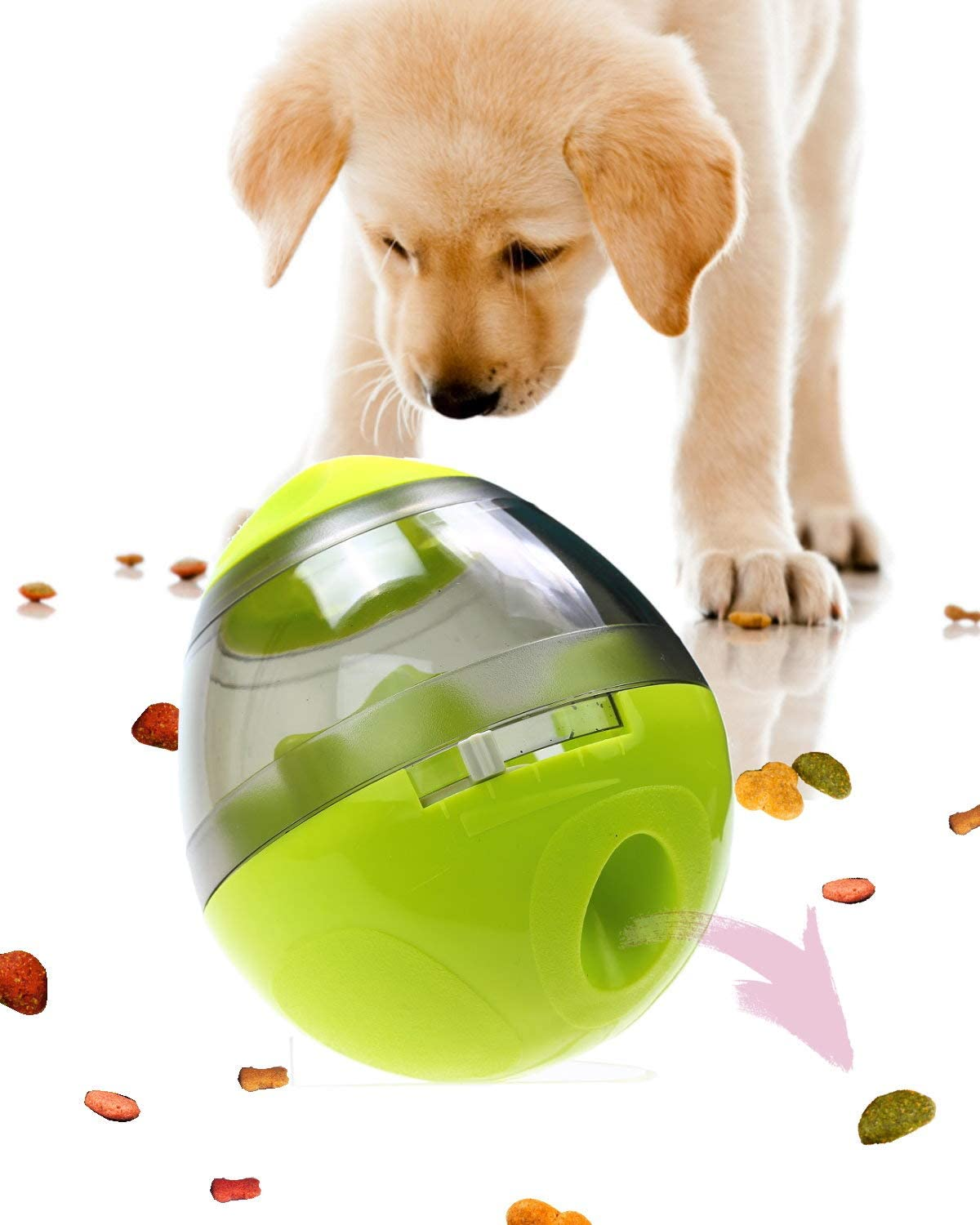 Wagooly Dog Treat Ball Dispenser - Slow Feeder Dog Food Toy Games, Interactive Puppy Training Treat Dispensing Toys, Mentally Stimulating Dog Toys Ball, Busy Ball for Dogs - Dog Food Puzzle (Green)