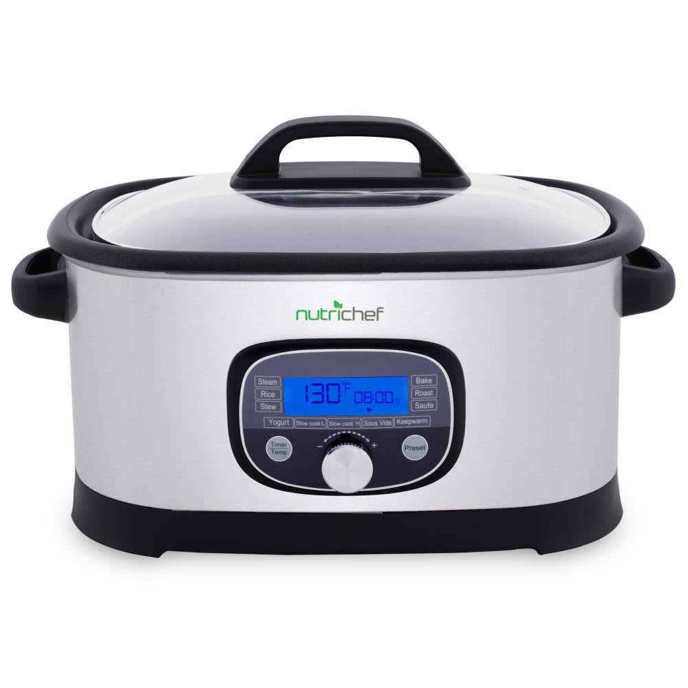 NutriChef Slow Cooker Electric Steamer - Sous Vide Cooking Mode, Stainless Steel High Pressure Multi-Cooker Crock Pot with Digital LCD Display, 11 Preset Cooking Modes, 6.5 Quart Capacity AZPKPC45