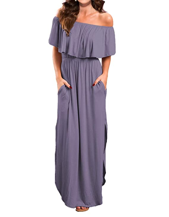 VERABENDI Women's Off Shoulder Summer Casual Long Ruffle Beach Maxi Dress with Pockets (X-Small, Purple Gray) best maxi dresses