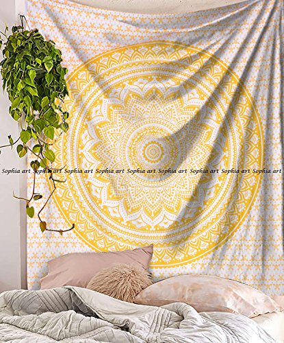 Sophia Art Top Selling Yellow Ombre Bedding Hippie Mandala Wall Hanging Ombra Bedding Tapestry