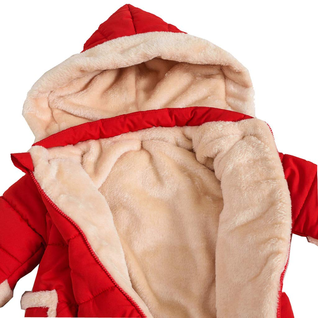 Toddler Kids Newborn Baby Girls Rompers Winter Fluffy Inner Warm Clothes Long Sleeve Hooded Zipper Jumpsuit Set