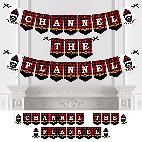 Lumberjack - Channel The Flannel - Party Bunting Banner - Buffalo Plaid Party Decorations - Channel The Flannel by Big Dot of Happiness