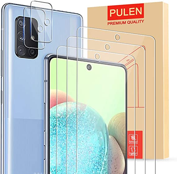 Amazon Com 5 In 1 Pulen For Samsung Galaxy A71 5g Screen Protector 3 Pack With 2 Pack Camera Lens Protector Hd Clear Scratch Resistant Bubble Free Anti Fingerprints 9h Hardness Tempered Glass