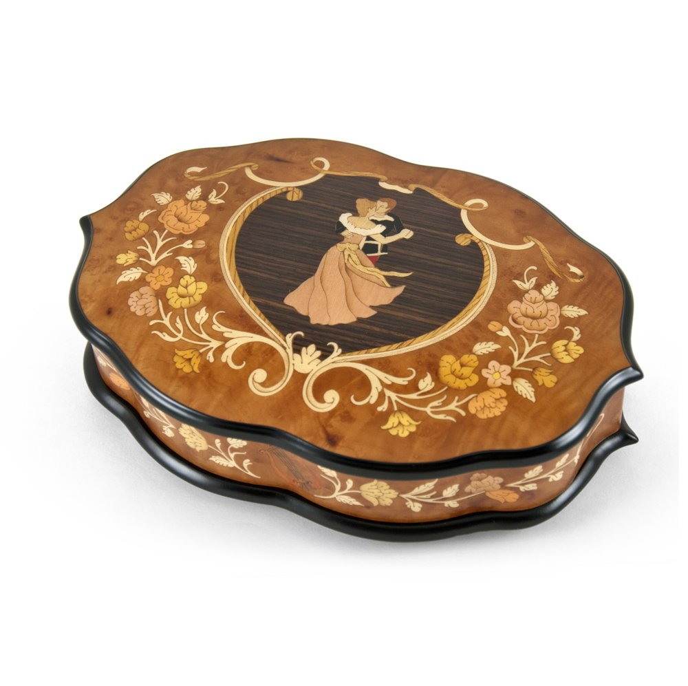 Grand One Of A Kind Inlaid Dancing Couple Ercolano Musical Jewelry Box - Let Me Call You Sweetheart