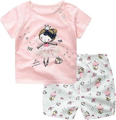 Treer Pijamas de Manga Corta para Niños y Niña, Camiseta de Dibujos Animados Tops+ Pantalones de bebé Pijamas Dos Piezas Bebé Verano Cómoda Ropa ...
