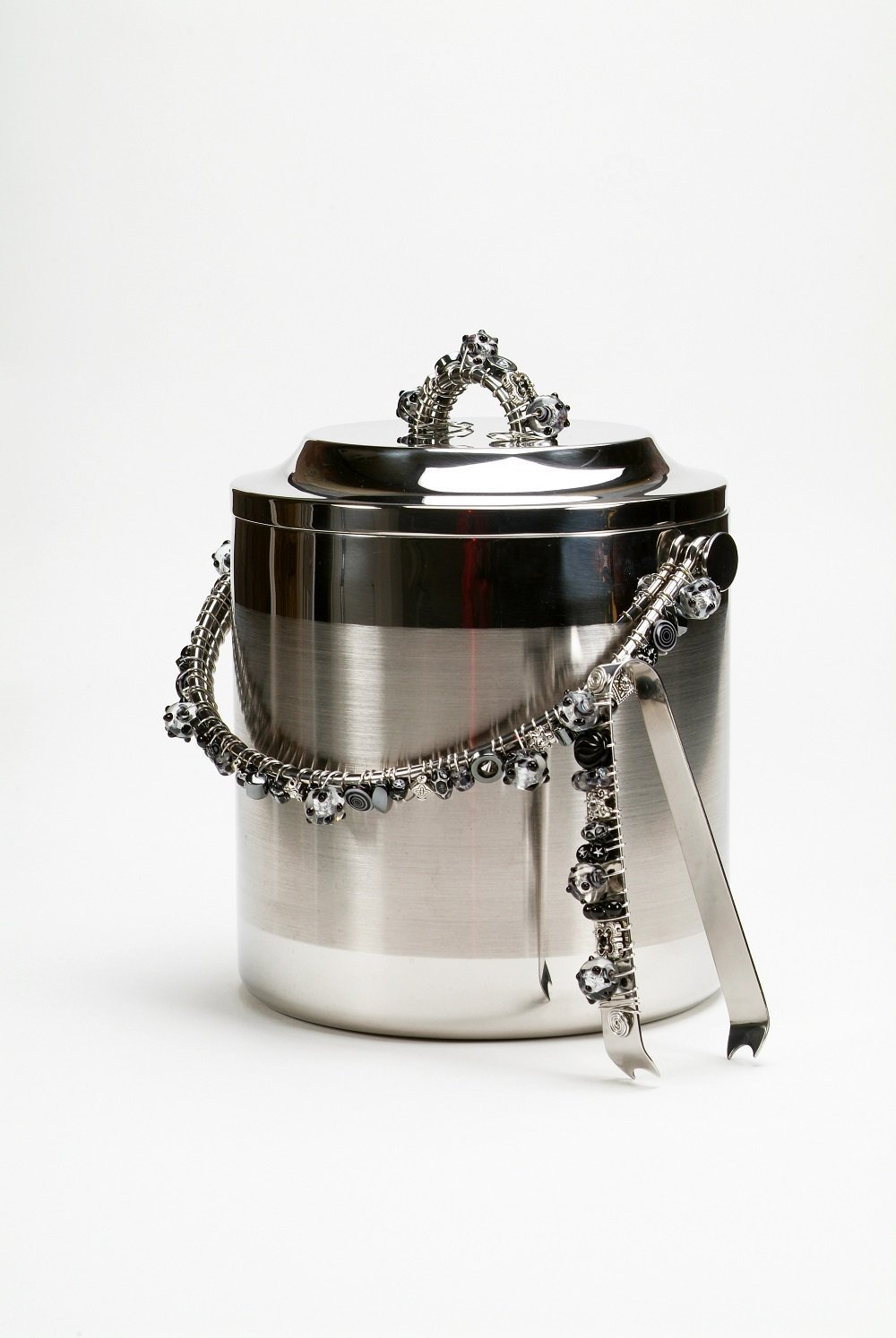 Hand Beaded Wire Wrapped Stainless Steel Double Wall Ice Bucket 3.5 Liters with Matching Tongs by Occasionware by Artifex