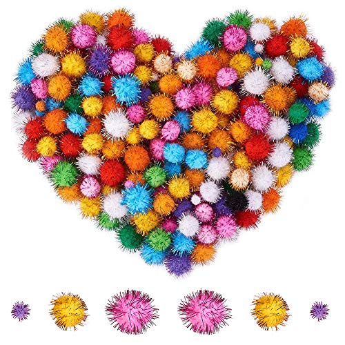 PandaHall Elite About 360 Pcs Assorted Pompoms Multicolor Arts and Crafts Fuzzy Pom Poms Glitter Sparkle Balls Diameter 12mm 25mm 30mm for DIY Doll Creative Crafts Decorations