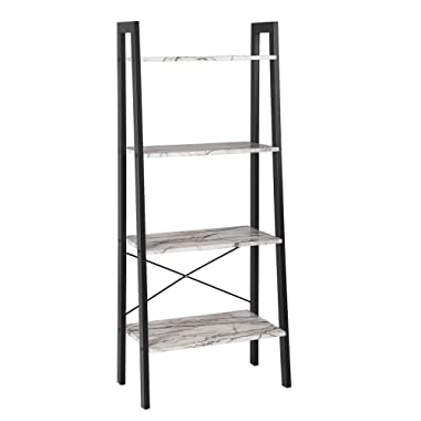 SONGMICS Ladder Shelf, 4-Tier Bookcase, Storage Rack for Living Room, Kitchen, Faux Marble, ULLS44BW