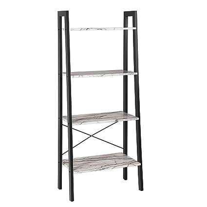 SONGMICS Ladder Shelf, 4 Tier Bookcase, Storage Rack For Living Room,  Kitchen