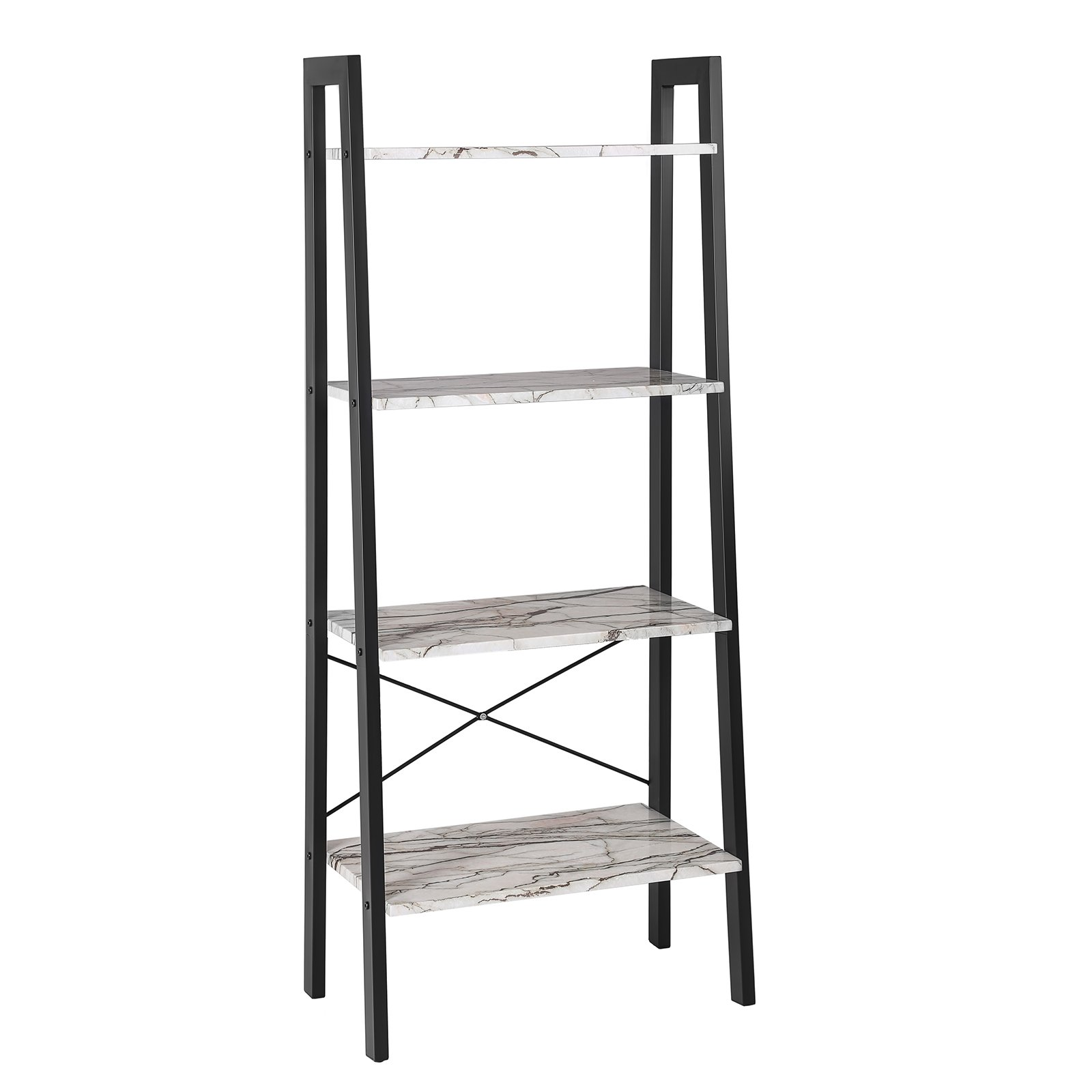 SONGMICS Storage Rack, 4-Tier Ladder Shelf, Shelving Unit for Living Room, Kitchen, Faux Marble, ULLS44BW