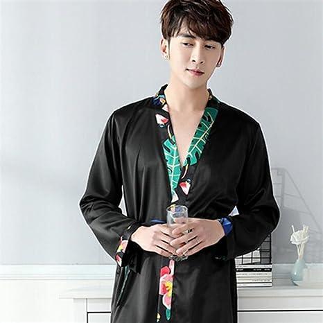 SUxian - Conjunto de Batas de camisón adornadas con Hojas para Hombres