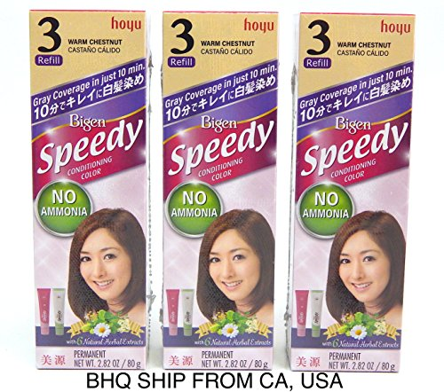 BIGEN SPEEDY CONDITIONING COLOR (#3 Warm Chestnut) Pack of 3 by Beauty Headquarters