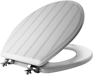 product image for MAYFAIR 29CPA 000 Beadboard Toilet Seat with Chrome Hinges will Never Loosen, ROUND, Durable Enameled Wood, White